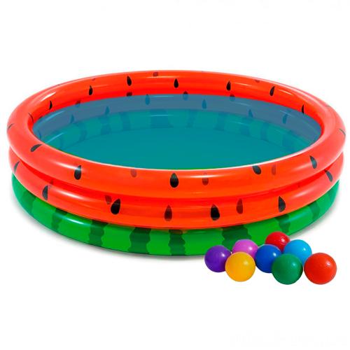 Детский надувной бассейн Intex 58448-1 «Арбуз», 168 х 38 см, с шариками 10 шт