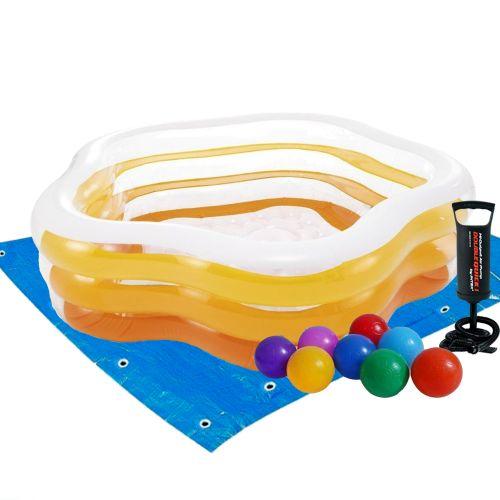 Детский надувной бассейн Intex 56495-2 «Морская звезда», 183 х 180 х 53 см, желтый, с шариками 10 шт, подстилкой, насосом