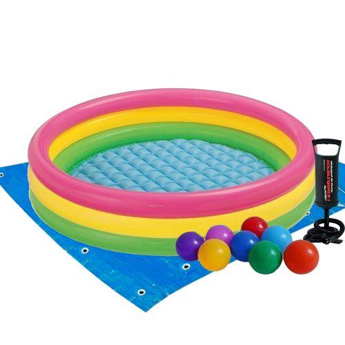 Детский надувной бассейн Intex 57412-2 «Радужный», 114 х 25 см, с шариками 10 шт, подстилкой, насосом