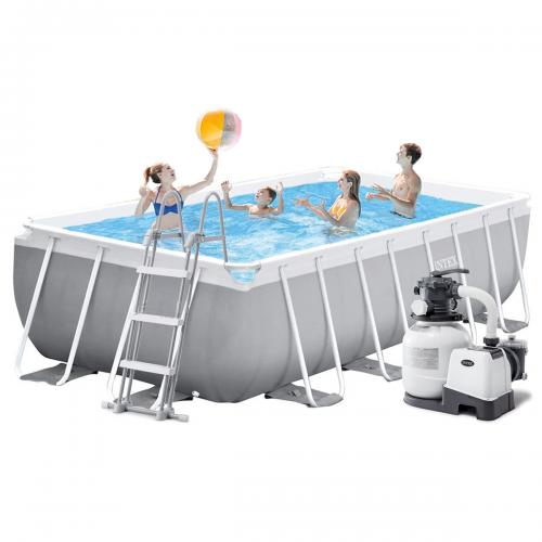 Каркасный бассейн Intex 26792 - 6, 488 x 244 x 107 см (6 000 л/ч, лестница, тент, подстилка)