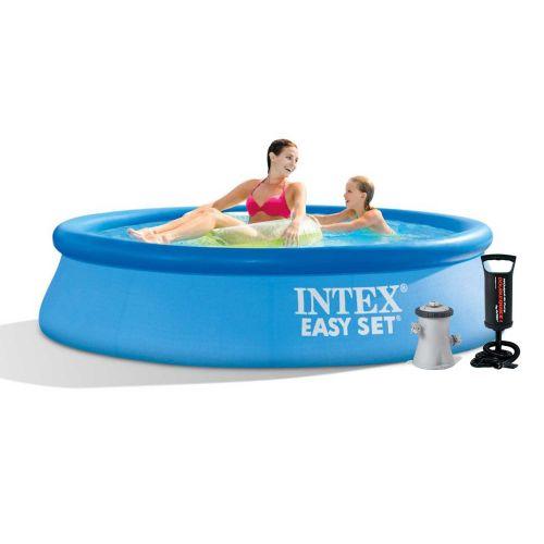 Надувной бассейн Intex 28108 - 3, 244 х 61 см (1 250 л/ч, тент, подстилка, насос)