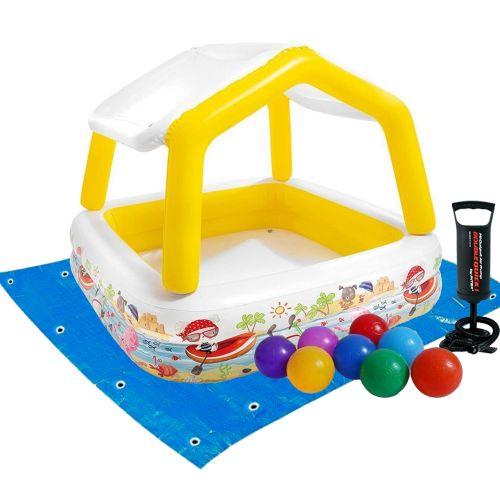 Детский надувной бассейн Intex 57470-2 «Аквариум» со съемным навесом, желтый, 157 х 157 х 122 (50) см, с шариками 10 шт, подстилкой и насосом.