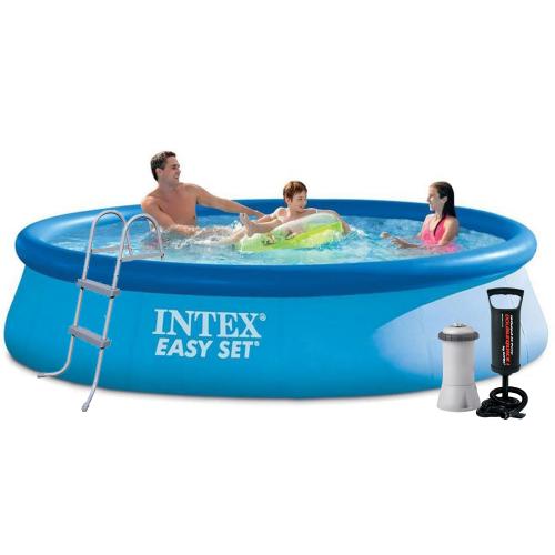 Надувной бассейн Intex 28143 - 5, 396 х 84 см (3 785 л/ч, подстилка, тент, насос, лестница)