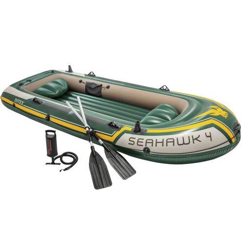 Четырехместная надувная лодка Intex 68351 Seahawk 4 Set, 351 х 145 см,  (весла, ручной насос). 3-х камерная