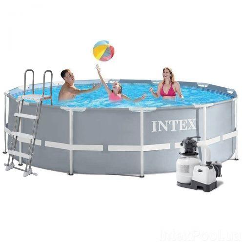Каркасный бассейн Intex 26718 - 7, 366 х 122 см (6 000 л/ч, лестница, тент, подстилка)