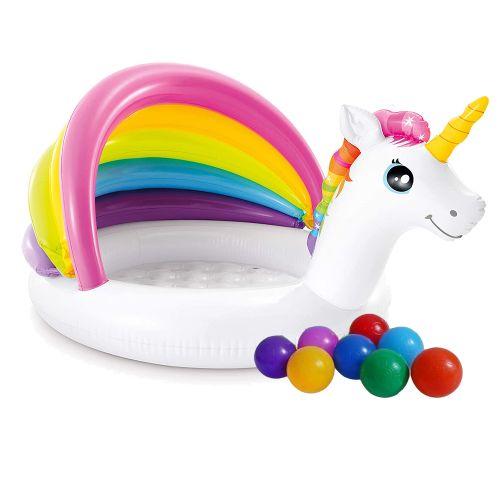 Детский надувной бассейн Intex 57113-1 «Единорог» с навесом, 127 х 102 х 69 см, с шариками 10 шт