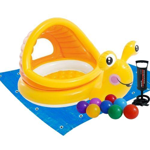 Детский надувной бассейн Intex 57124-2 «Улитка» с навесом, 145 х 102 х 74 см, с шариками 10 шт, подстилкой, насосом