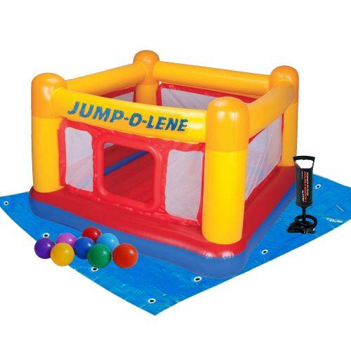 Надувной батут Intex 48260-2 «Jump-O-Lene» , 174 х 174 х 112 см, с шариками 10 шт, подстилкой и насосом
