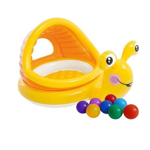 Детский надувной бассейн Intex 57124-1 «Улитка» ,145 х 102 х 74 см, с навесом, с шариками 10 шт