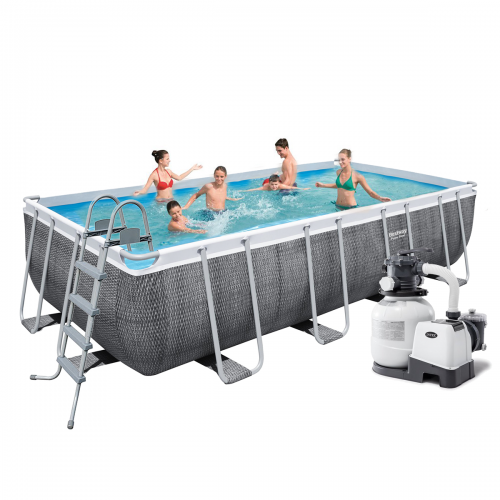 Каркасный бассейн Bestway 56996 - 6, 488 x 244 x 122 см (6 000 л/ч, лестница, тент, подстилка)