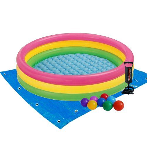 Детский надувной бассейн Intex 57422-2 «Цвета заката», 147 х 33 см, с шариками 10 шт, подстилкой, насосом