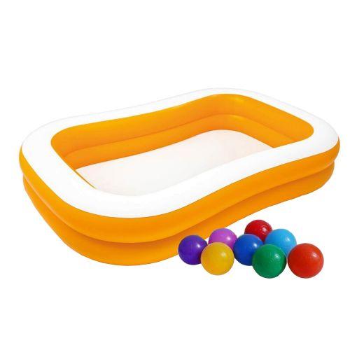 Детский надувной бассейн Intex 57181-1 «Мандарин», 229 х 147 х 46 см, с шариками 10 шт