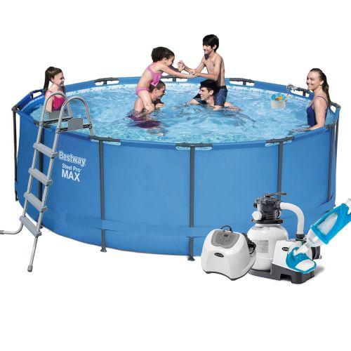 Каркасный бассейн Bestway 5614S - 10, 366 х 122 см (5 г/ч, 6 000 л/ч, тент, подстилка, лестница, набор для ухода)