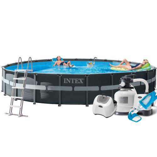 Каркасный бассейн Intex 26340 - 16, 732 x 132 см (150 мл/ч /11 г/ч, 10 000 л/ч, лестница, тент, подстилка, набор для ухода)