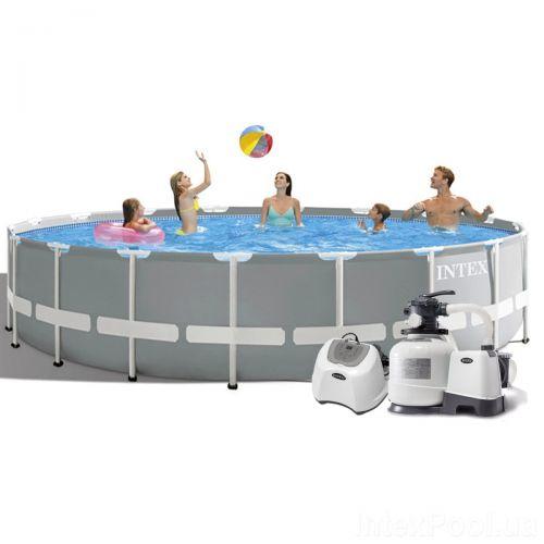 Каркасный бассейн Intex 26732 - 11, 549 x 122 см (5 г/ч, 6 000 л/ч, лестница, тент, подстилка, набор для ухода)