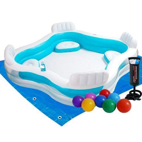 Детский надувной бассейн Intex 56475-2, 229 х 229 х 66 см, с шариками 10 шт, подстилкой, насосом