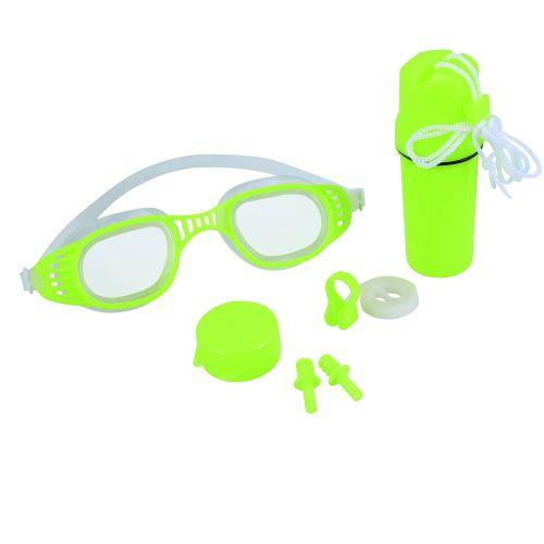 Набор 3 в 1 для плавания Bestway 26002 (очки: размер M, (8+), обхват головы ≈ 52 см, беруши, клипса для носа, колба), зеленый
