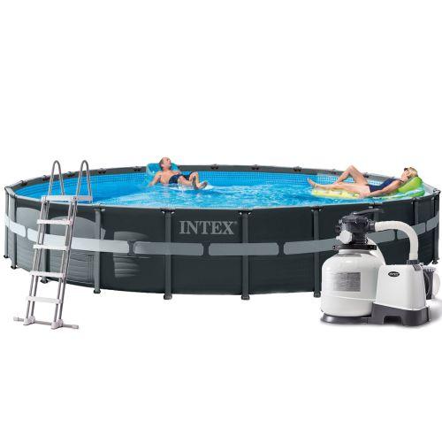 Каркасный бассейн Intex 26340, 732 x 132 см (10 000 л/ч, лестница, тент, подстилка)