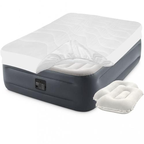 Надувная кровать Intex 64126-3, 152 х 203 х 46 см, встроенный электронасос, наматрасник, подушки. Двухспальная