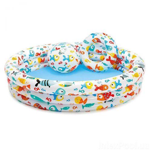 Детский надувной бассейн Intex 59469 «Аквариум», 132 х 28 см, с мячем и кругом