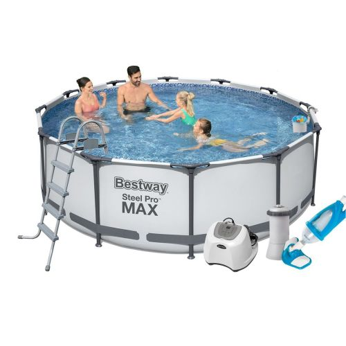 Каркасный бассейн Bestway 56420 - 7, 366 х 122 см (4 г/ч, 3 785 л/ч, тент, подстилка, лестница, набор для ухода)