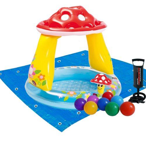 Детский надувной бассейн Intex 57114-2 «Грибочек», 102 х 89 см, с шариками 10 шт, подстилкой, насосом