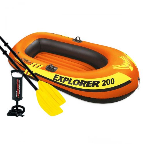 Полутораместная надувная лодка Intex 58330-2 Explorer 200, 185 х 94 см,  (весла, ручной насос). 2-х камерная