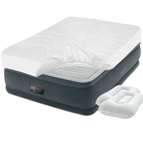 Надувная кровать Intex 64414-3, 152 х 203 х 46 см, встроенный электронасос, наматрасник, подушки. Двухспальная
