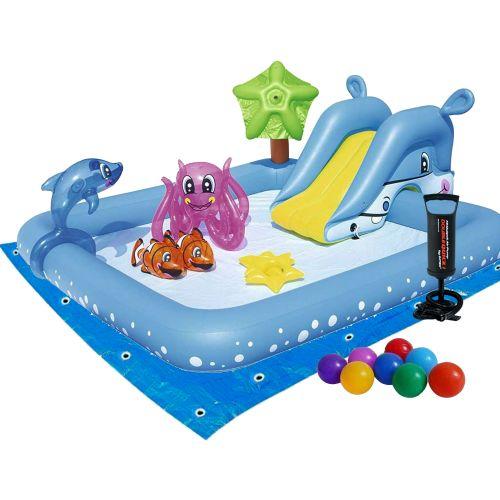 Надувной игровой центр Bestway 53052 -2 «Аквариум», 239 х 206 х 86 см,с горкой, с игрушками, шариками 10 шт, подстилкой, насосом