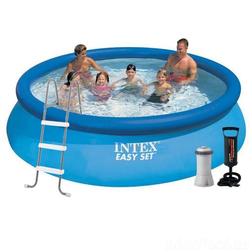 Надувной бассейн Intex 28130 - 6, 366 х 76 см (3 785 л/ч, подстилка, тент, насос, лестница)