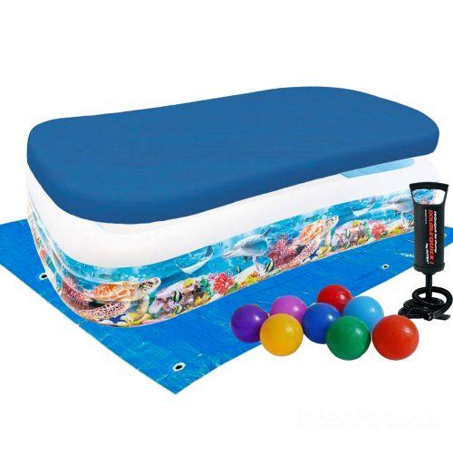 Детский надувной бассейн Intex 58485-3 «Тропический риф», 305 х 183 х 56 см, с шариками 10 шт, подстилкой, тентом, насосом