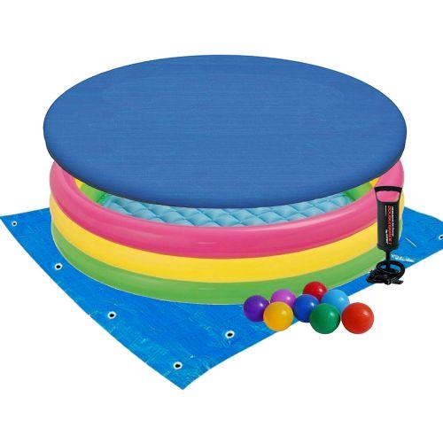 Детский надувной бассейн Intex 57422-3 «Цвета заката», 147 х 33 см, с шариками 10 шт, тентом, подстилкой, насосом