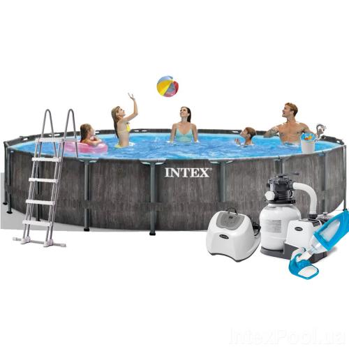 Каркасный бассейн Intex 26744 - 11, 549 x 122 см (5 г/ч, 6 000 л/ч, лестница, тент, подстилка, набор для ухода)
