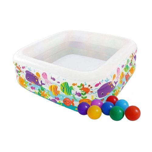 Детский надувной бассейн Intex 57471-1 «Аквариум», 159 х 159 х 50 см, с шариками 10 шт