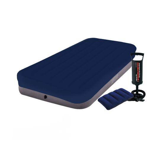 Надувной матрас Intex 64101-3, 99 х 191 х 25 см, с насосом, наматрасником (чехлом), подушкой. Одноместный