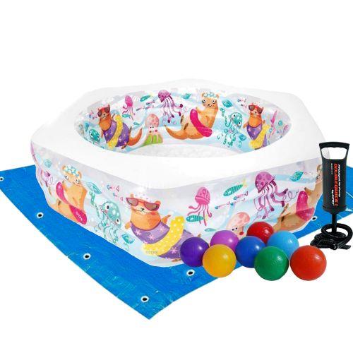 Детский надувной бассейн Intex 56493-2 «Океанский Риф», 191 х 178 х 61 см, с шариками 10 шт, подстилкой, насосом