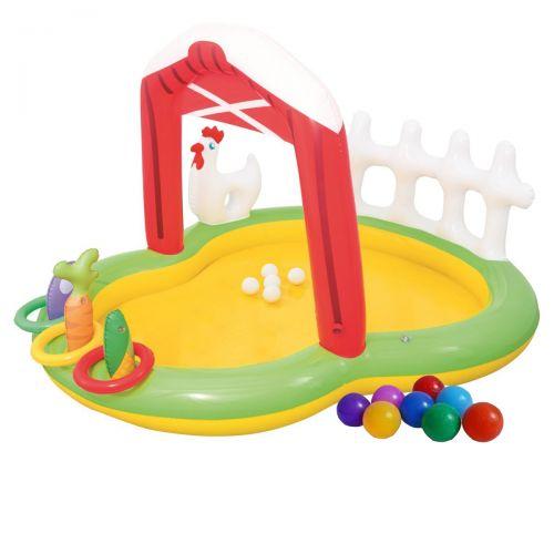 Надувной игровой центр Bestway 53065 «Ферма», 175 х 147 х 102 см, с надувными кольцами, игрушками и шариками 5 шт