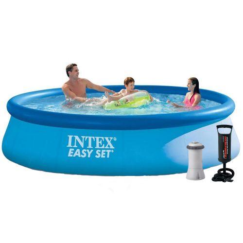 Надувной бассейн Intex 28142 - 3, 396 х 84 см (2 006 л/ч, подстилка, тент, насос)
