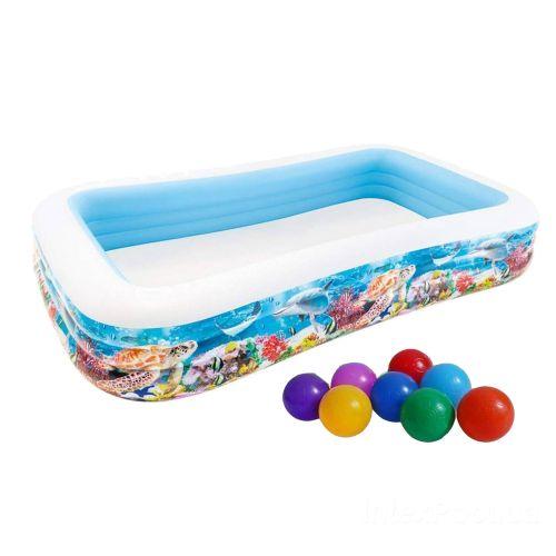 Детский надувной бассейн Intex 58485-1 «Тропический риф», 305 х 183 х 56 см, с шариками 10 шт