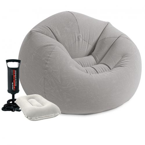 Надувное кресло Intex 68579-2, 107 х 104 х 69 см, с ручным насосом и подушкой