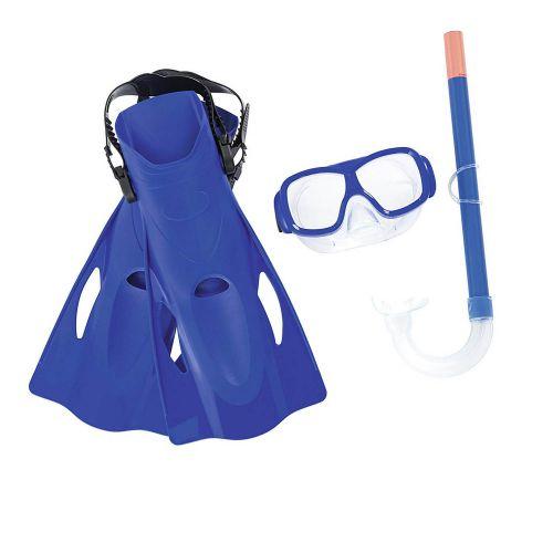 Набор 3 в 1 для плавания Bestway 25019, размер М (маска: размер M, (8+), обхват головы ≈ 52 см, трубка, ласты: размер M, 37-40 (EU), под стопу ≈ 24 см), синий