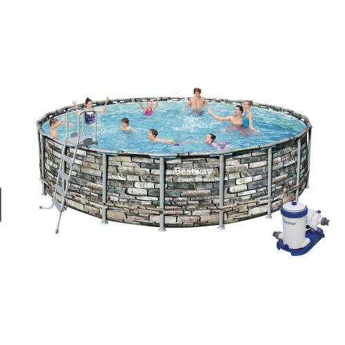 Каркасный бассейн Bestway 56883, 610 x 132 см (9 463 л/ч, лестница, тент, дозатор)