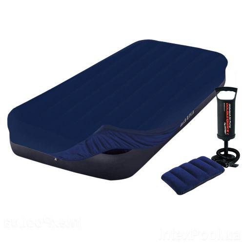 Надувной матрас Intex 64756-3, 76 x 191 x 25 cм, с наматрасником-чехлом, подушкой, насосом. Одноместный
