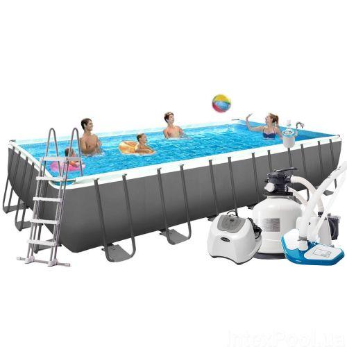 Каркасный бассейн Intex 26368 - 16, 732 х 366 х 132 см (150мг/11 г/ч, 12 000 л/ч, лестница, тент, подстилка, набор для ухода, сетка)