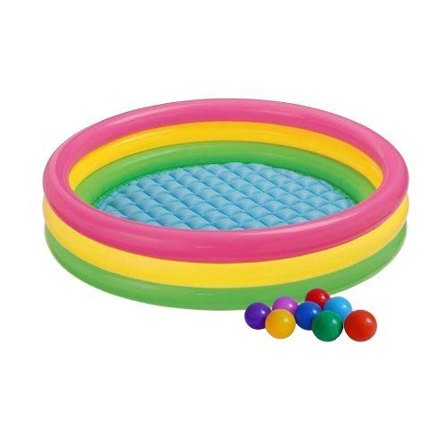 Детский надувной бассейн Intex 57422-1 «Цвета заката», 147 х 33 см, с шариками 10 шт