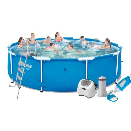 Каркасный бассейн Bestway 5612U - 6, 427 х 132 см (4 г/ч, 3 785 л/ч, лестница, тент, подстилка, набор для ухода)