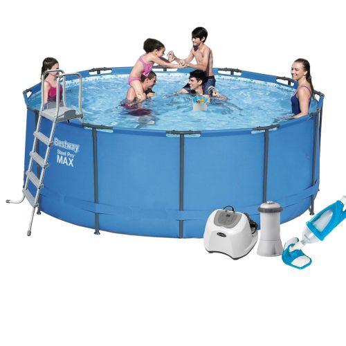 Каркасный бассейн Bestway 15427 - 7, 366 х 133 см (4 г/ч, 3 785 л/ч, лестница, тент, подстилка, набор для ухода)