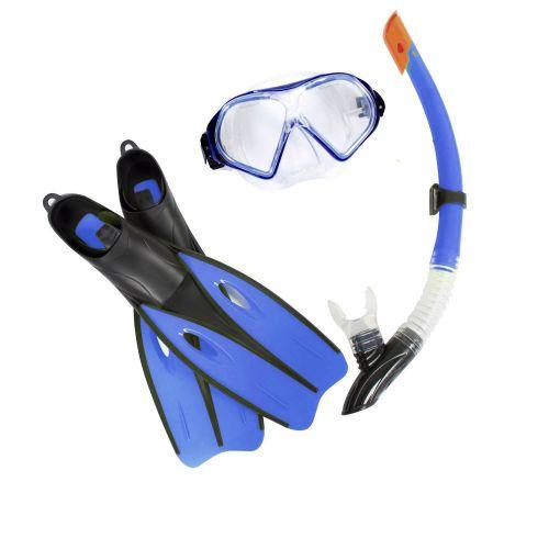 Набор 3 в 1 для плавания Bestway 25021 (маска: размер M, (8+), обхват головы ≈ 52 см, трубка, ласты: размер M, 37-40 (EU), под стопу ≈ 24-26 см), синий