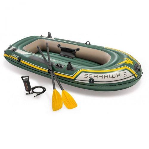 Двухместная надувная лодка Intex 68347 Seahawk 2 Set, 236 х 114 см, (весла, ручной насос). 3-х камерная