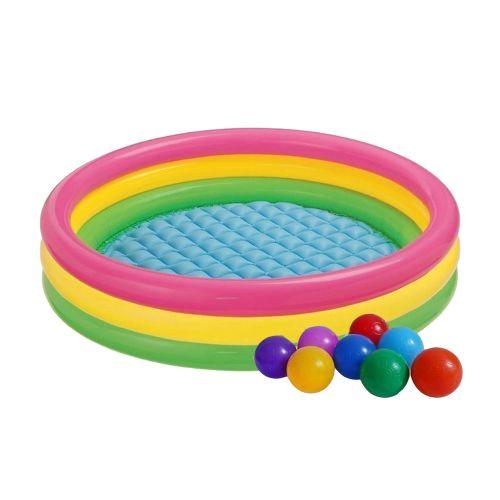 Детский надувной бассейн Intex 57412-1 «Радужный», 114 х 25 см, с шариками 10 шт